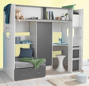 Rutland High Sleeper Cabin Bed White/grey M1043