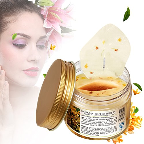 Eye Patch, Goldener Osmanthus Collagen Augenpads Anti Falten & Moisturizing Augenserum gegen Augenringe geschwollene Augen (80 Stück/Flasche)