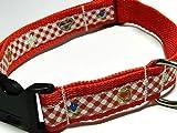 Hundehalsband rot mit - LEBKUCHENHERZ UND EDELWEISS - Breite: 2,5 cm - Länge verstellbar von ca. 33 cm bis ca. 57 cm - Größe: L - mit Steckschließe und D-Ring - Hunde-Halsband - Geschenk Weihnachten
