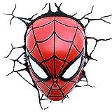 CL & Lampe Murale Lampe de Table Spiderman Mask Lampe Murale créative 3D Chambre pour Enfants Batterie Lumière Nocturne Lumière LED Moderne Lumière de tête de lit A