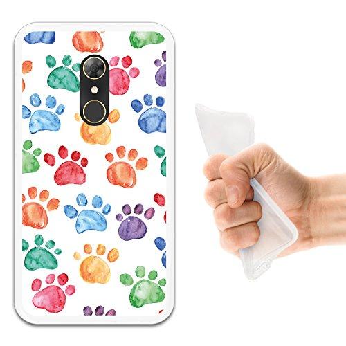 WoowCase Alcatel A7 Hülle, Handyhülle Silikon für [ Alcatel A7 ] Hund Fußabdruck Handytasche Handy Cover Case Schutzhülle Flexible TPU - Transparent