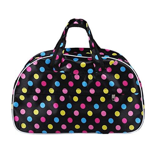 Sac - TOOGOO(R)Mode etanche sac Oxford femmes Dots colores avec fond noir Sac de Voyage Grand bagage a main en toile Sacs