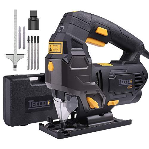 Seghetto Alternativo, TECCPO800W Seghetto Elettrico con Guida Laser, 0-3000 Corse/min, 22mmCorsa Alternativa, Taglio da -45° a 45°, 6 Velocità, 6 Lame, per Tagliare Legno, Metallo e Plastica-TAJS01P