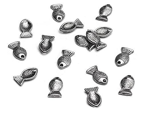 Beads Unlimited-Ganci in metallo, 7,5 x 14 mm, in stile tibetano-Ciondolo a forma di pesce, confezione da 50, colore: argento