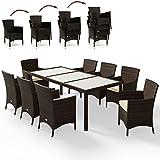 Deuba Poly Rattan Sitzgruppe 8+1 Braun | 8 stapelbare Stühle | 7cm dicke Sitzauflagen Creme | wetterfestes Polyrattan [ Modell- & Farbauswahl 4+1 / 6+1 / 8+1 ] - Gartenmöbel Gartenset Lounge Sitzgarnitur Essgruppe Set
