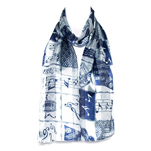 Ladies Stripe Musical Instruments/Notes Scarve/Scarf - (Blue)