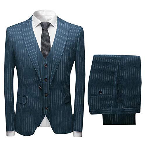 Nadelstreifen-5 Stück Anzug (CALVINSUIT Herren Nadelstreifen 3 Stück Anzug Slim Fit Einreiher Business Hochzeitsfest Jacke Weste Hosen Set)