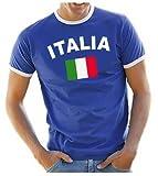 Coole-Fun-T-Shirts Herren T-Shirt Italien Ringer, blau, L, 10840_Italien_HERI_GR.L