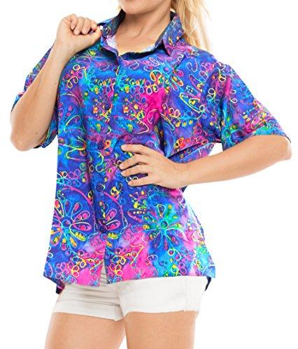 LA LEELA Hawaii-Hemd Blusen-Taste nach unten entspannt Frauen mit kurzen Ärmeln Lager Multi XXL -