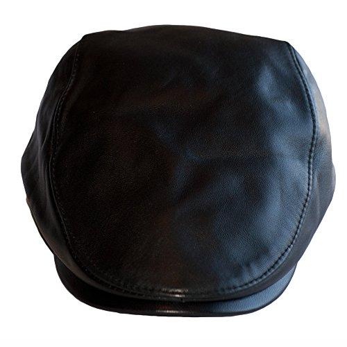 Dazoriginal Leder Flatcap Herren Schiebermütze Schirmmütze Schlägermütze Schwarz