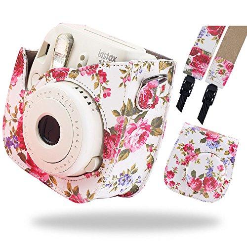 Katia Instax Mini 8 PU Leder Instax Mini 8 Kamera Tasche für Fujiflim Instax Mini 8 Sofortbildkamera mit Schultergurt und Tasche - Flamingo Pink (Leder-druckknopfverschluss-mini)