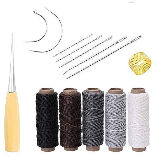 Yulakes 14 Stück Leder Handwerk Werkzeug Hand Nähen Nadeln Polsterung Teppich Leder Segeltuch DIY Nähzubehör mit 5 Stück 50M 150D Leder Nähen Wachsfaden (Farbe 2) (Von Nähen Hand-werkzeug)