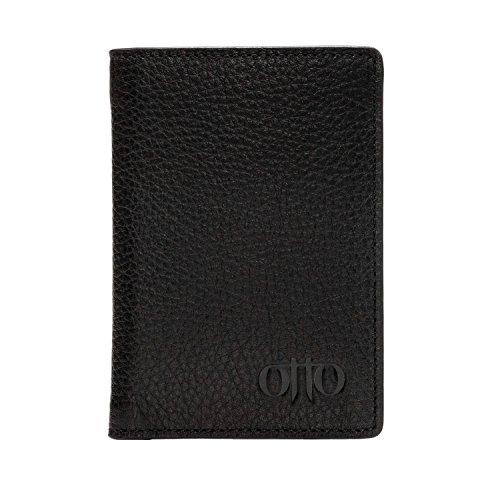 Otto Angelino Bifold Lederbrieftasche - Reisepass-Stil Kreditkartenhalter für Ausweis, Bank und Lastschriftkarten, Geld - Faltbar, Leicht und Reisefreundlich - RFID Schutz (Schwarz)