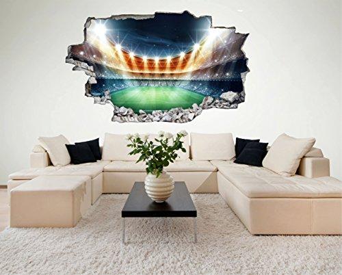 Preisvergleich Produktbild Fussball Stadion Spielfeld 3D Look Wandtattoo 70 x 115 cm Wanddurchbruch Wandbild Sticker Aufkleber DesFoli © C413