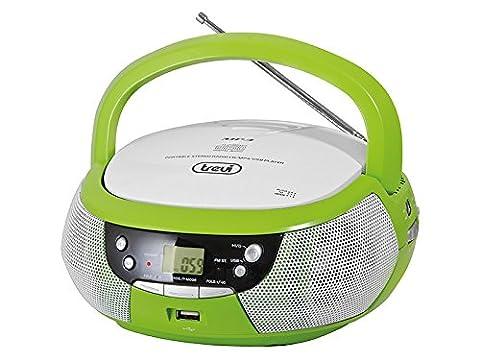 Trevi CMP 532 CD-Player Soundmaschine Musikanlage CD MP3 Player (USB-Port, AM/FM-Radio, AUX-Eingang, MP3-CD, programmierbare Wiedergabe-Reihenfolge in CD-Betrieb, Batterie-Betrieb, Tragegriff) grün