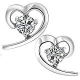 Meyiert 925 Sterling Silver Heart Studs Earrings with Cubic Zirconia for Women/Girl (with Gift Box) (White)