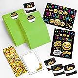 8 Einladungskarten Kindergeburtstag Mädchen Jungen Jungs Geburtstagseinladungen Einladungen Geburtstag Kinder Umschlag Tüten Aufkleber Kartenset incl. 8 Umschläge, 8 Tüten / grün, 8 Aufkleber, 8 Lesezeichen, 8 Notizblöcke