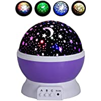 Rightwell Lampada Proiettore Stelle 4 LED Perle 360 Gradi Romantic Room Rotante Proiettore Della Stella Dell'universo per Natale
