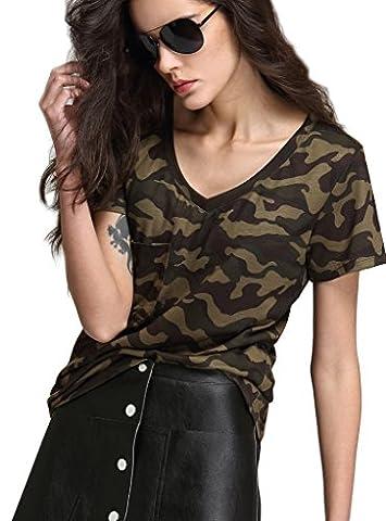 T-shirt Col V Femme - Escalier Femmes Camouflage Militaire T-shirt Manches Courtes