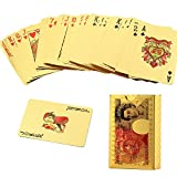 Aolvo Placcato oro 24 K carte da poker, oro metallizzato per carte da gioco Poker idee regalo 24 K Gold foil Playing Cards USD/EUR/GBP/Dollar design Poker Deck Toy – con certificato Gbp Design