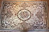Karatcarpet Klassischer Teppich Kurzflor Kollektion Lotos 519/100 Creme, Beige, Muster: Blumen (300x400 cm)