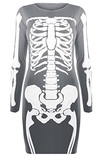Be Jealous - Damen Tunika Kleid T-Shirt Top Halloween Skelett Knochen