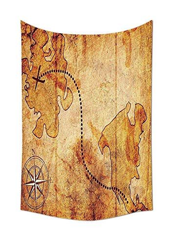 daawqee Compass Wall Hanging Bohemian Style Treasure Hunt Map with Small Compass Paint on It Manuscript Atlas Finding Print Bedroom Living Room Dorm Tan Unique Home Decor (Walmart Atlas)