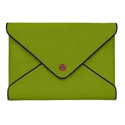 tophome Wolle Filz Tasche Sleeve Schutzhülle Displayschutzfolie Echt Leder Rand mit Pocket für Apple MacBook Air 13 und MacBook Pro 13,3, Grün -