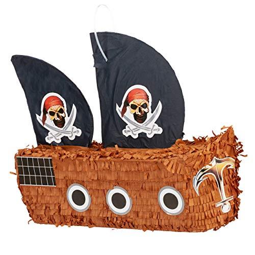 Relaxdays Pinata Piratenschiff, zum Aufhängen, für Kinder, Jungs, Geburtstag, zum selbst Befüllen, Piraten Piñata, bunt (Geburtstag Pinata Jungen)