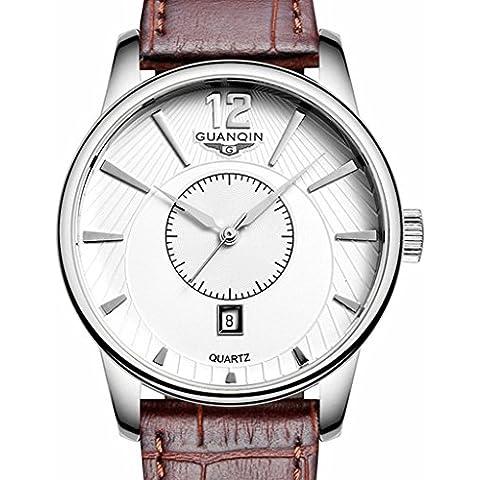 downj marchio uomini casual orologio al quarzo, cinturino in pelle marrone uomini della moda regalo auto data display analogico orologio da polso - Seiko Moon Watch