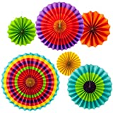 Set Of 6 Multi Colour Party Decoration Paper Fan For Wedding Party , Birthday Party , Baby Shower ,Theme Party Decoration
