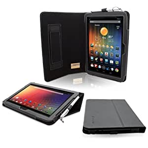 Snugg™ Nexus 10 Case - Smart Cover with Flip Stand & Lifetime Guarantee (Black Leather) for Nexus 10