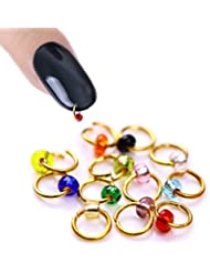 New Nail Art 10 Stück Nagel Piercings in gemischten Farben mit silbernen Ring, Nagel Design Zubehör Schmuck Glitzer Glitter