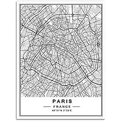 XIAOJIE0104 Nordic Minimalist World Carte De Ville Célèbre Peintures sur Toile Berlin Oslo Affiche Imprimer Mur Art Photos pour La Décoration Intérieure Salon, Paris, 50x70 cm sans Cadre