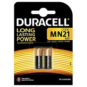 Duracell Specialty Alkaline MN21 Battery 12V, pack of 2 (A23 / 23A / V23GA / LRV08 / 8LR932) designed for use in remote controls, wireless doorbells and security systems