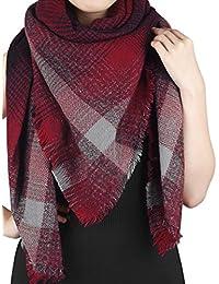 Riga - großer quadratischer XL Schal/Tuch mit Fransen und gestreiftem Karo-Muster