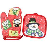 Mackur Weihnachten Schneemann Ofenhandschuh und Topflappen Sätze Hitzebeständige 2 Stück (Rot)