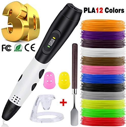 3D Pen + PLA Fliament Set, Lovebay 3D Stifte mit LCD-Bildschirm + 12 Farben Φ1,75 mm 3d Filament - insgesamt 120 ft, DIY Geschenk für Kinder Anfänger Erwachsene, kompatibel mit 1,75 mm ABS/PLA