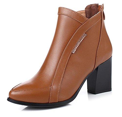 Damenstiefel mit dicken Stiefeln Martin hochhackigen Damen-Einzel Stiefel  Frau Aufzug Schuhe Freizeitschuhe Herbst spitz