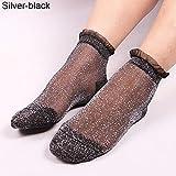 Damen-Socken für den Sommer, durchsichtig, seidig, glitzernd, Spitze Einheitsgröße Schwarz/Silber