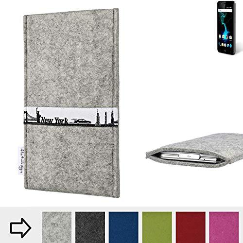 flat.design für Allview P6 Pro Schutzhülle Handytasche Skyline mit Webband New York - Maßanfertigung der Schutz Tasche Handycase aus 100% Wollfilz (hellgrau) für Allview P6 Pro
