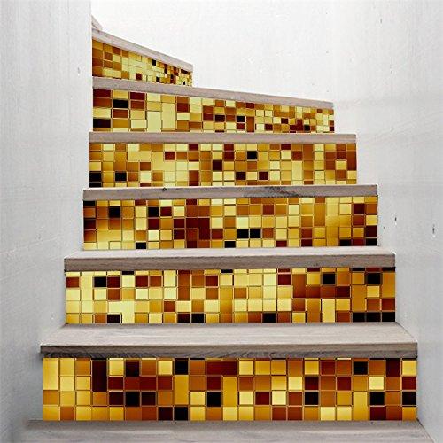 Imitation 3D Treppe Aufkleber Golden Mosaic Muster Creative Stickers Treppe Renovierung wasserdicht Wand Aufkleber 100 * 18 cm (Goldene Treppe-bücher)