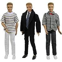 ZITA ELEMENT 3 Set Mode Lässige Kleidung für Ken Fashionistas Barbie Freund Puppen Kleider Mann Junge Puppenkleidung Bekleidung Oberteil Hosen Mantel Anzug Puppenkleider