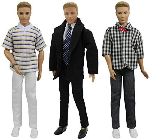 ZITA ELEMENT 3 Set Mode Beiläufig Kleidung für Fashionistas 11,5 inch Girl doll Freund 11,5 inch doll Boy Friend Puppen Kleider Mann Junge Puppenkleidung Bekleidung Oberteil Hosen - Barbie-party Ken