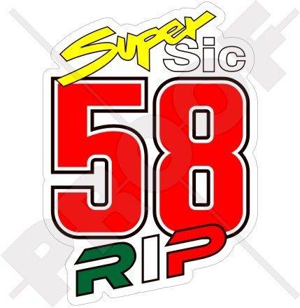 Marco simoncelli 58 Super SIC Rip 10,2 cm (100 mm) en vinyle bike-helmet Sticker, autocollant