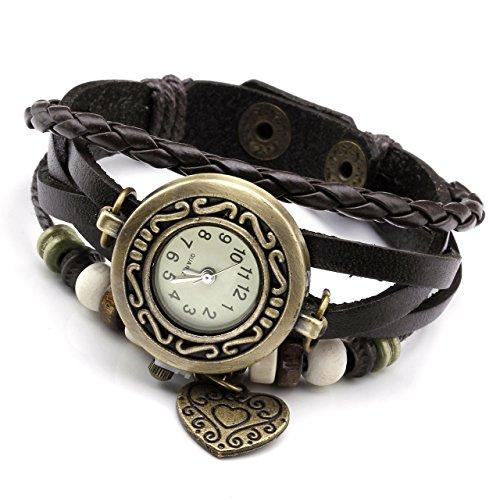 JSDDE Uhren Vintage Wickelarmband Damen Armbanduhr Lederarmband Bronze Herz Anhänger Holzperlen Analog Quarz Uhr, Dunkelbraun - 2
