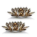 Online-Fuchs 2er Set Kerzenständer für Stumpenkerzen - Kerzenhalter aus Kristallglas mit Farb- und Lichteffekten (Gold)
