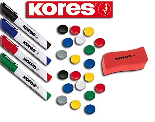 ker Set, 4 Marker + Tafellöscher (20 Magnete + 4 Marker + Löscher, sortiert) (Magnet-set)
