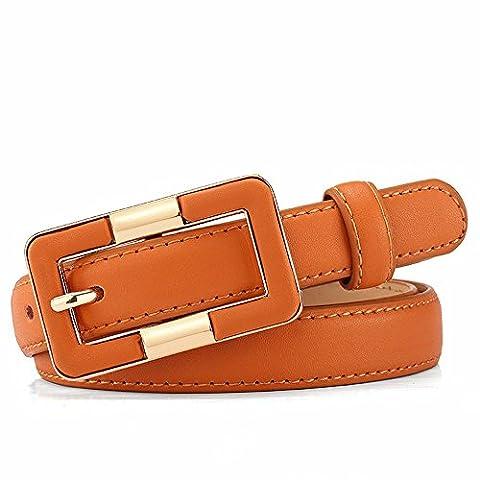LONFENNE Taille en cuir avec boucle décorative simple aiguille loisirs ,ceinture marron, 78-94cm