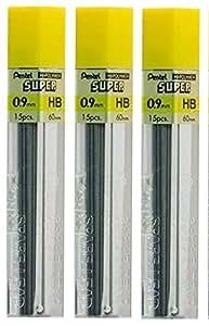 Pentel 0,9mm Taille crayon hb Dureté Abat-jour de rechange Recharge mines Hi pollymer Super pour crayons & mécanique automatique (Lot de 3tubes-45Pièces)